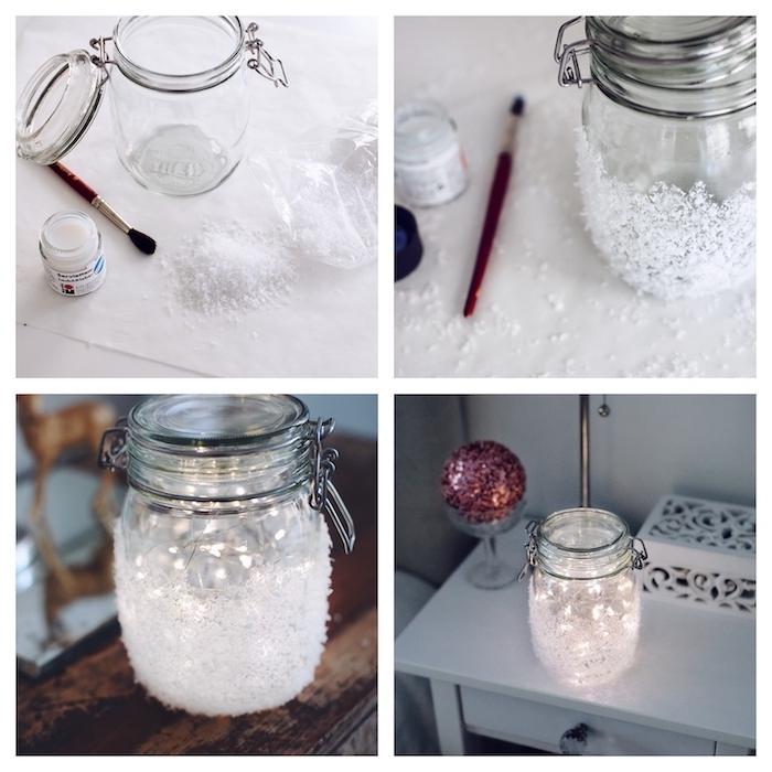 luminaire phorophore de noel dans un pot de verre recyclé décoré de neige à l extérieur et guirlande lumineuse à l intérieur