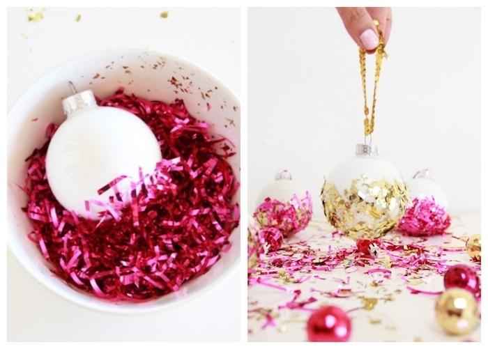boule de neige blanche décorée de confettis pailletées de guirlande de noel, activité manuelle noel facile et rapide