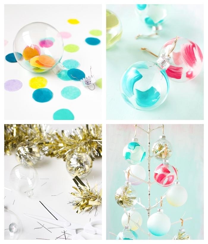 bricolage de noel avec boules de noel transaprentes décorées de confettis, guirlande de noel coupée et peinture acrylique