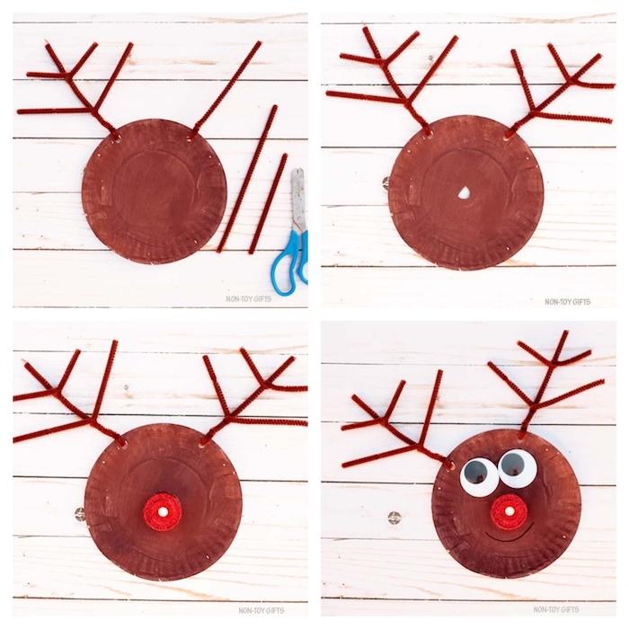 rudolphe le renne en assiette de papier repinte de marron avec capuchon rouge en guise de nez et des bois en cure pipe