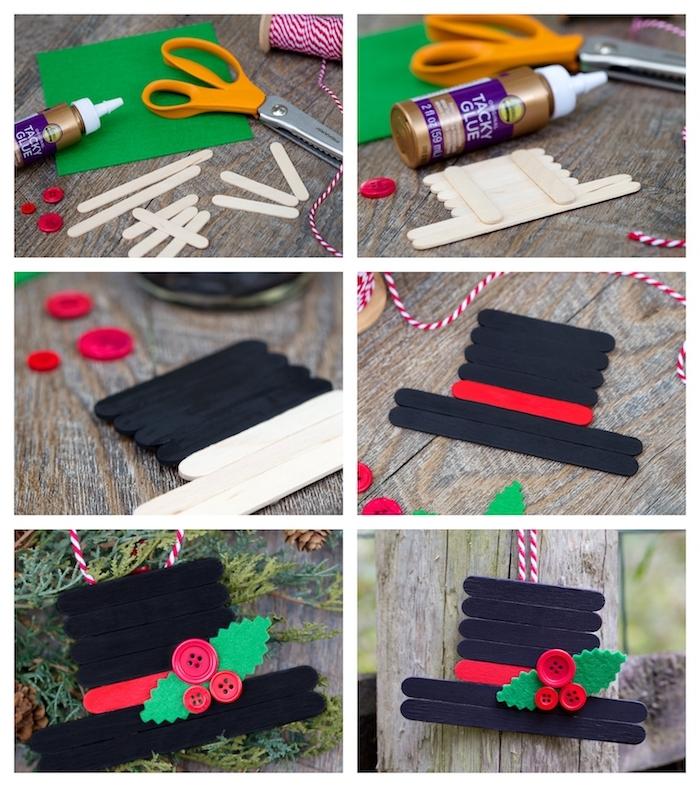 idee originale décoration de noel à faire soi meme en batonnets de glace pour faire un chapeau décoré de feuilles de feutrine et boutons rouges