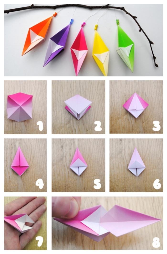 modèles d'origami géométriques en papier de différentes couleurs, ornements origami noel à suspendre au sapin ou à une branche décorative