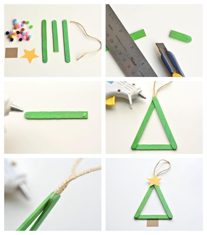 idee pour un bricolage de noel maternelle avec des batonnets de glace colorés pour créer un sapin de noel décoré d étoile papier jaune