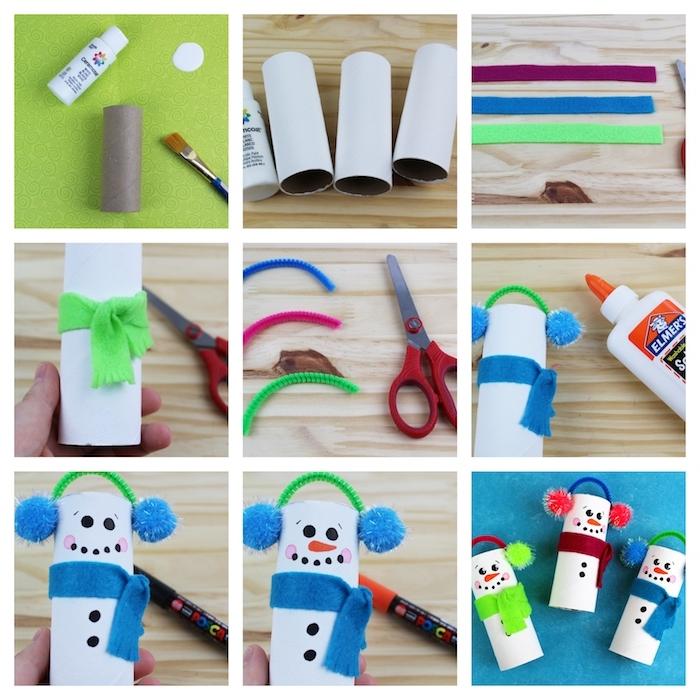 deco noel fait main en rouleaux de papier toilette, bonhomme de neige en rouleau blanc décoré d'une écharpe, dessin tête