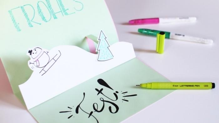 comment faire une carte postale en papier coloré, exemple de carte pop up facile pour enfants, activité manuelle noel