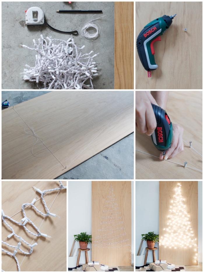 jolie déco de noël en panneau de bois illuminé par une guirlande de noël fixée à l'aide des vis, sapin de noel en bois a faire soi meme