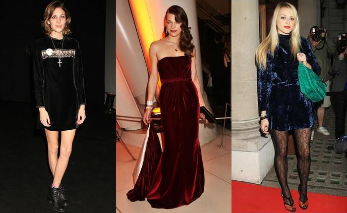 robe habillée femme velours rouge, robe femme courte, robe bleue velours, sac vert, Alexa Chung