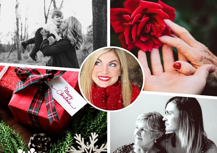 comment emballer un cadeau noel pour mère, idée cadeau maman, modèle de gants en laine rouge pour femme