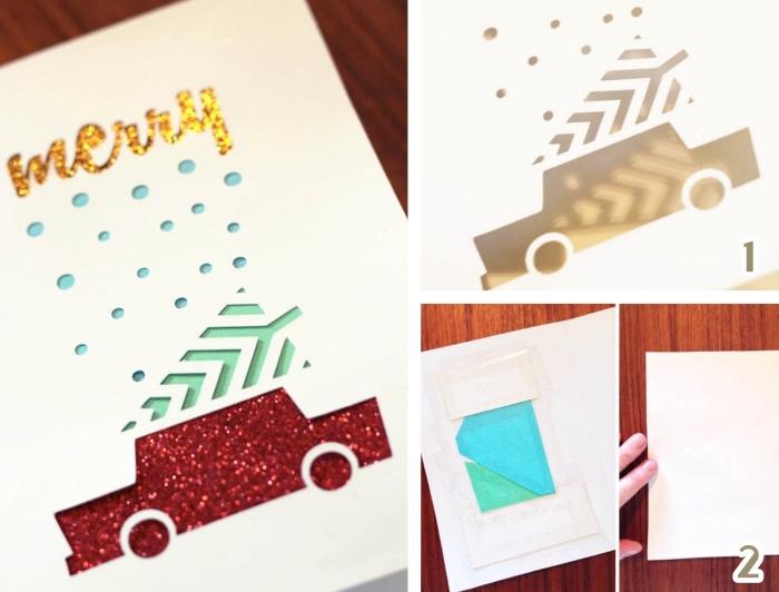 tutoriel facile noel, exemple activité manuelle pour les fêtes fin d'année, modèle carte de voeux DIY avec papier pailletté