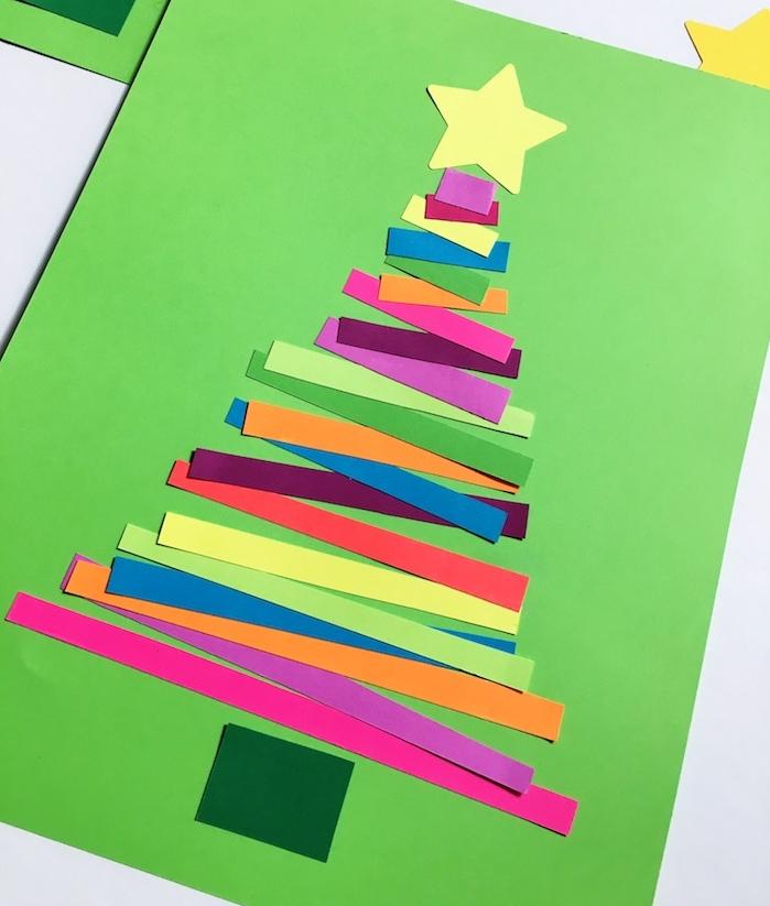 comment faire une carte de noel maternelle en bandes colorées de longueur différente collées sur papier vert avec étoile papier en top