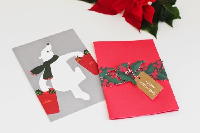 fantastiques modèles de carte postale DIY pour Noel, comment faire des cartes en papier coloré avec figurines noel découpées de papier