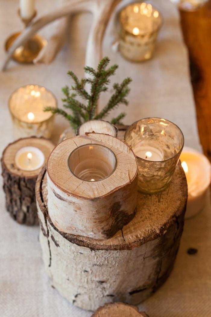 centre de table rustique pour la table de noel tron ons de bois bougeoirs en tron ons brin de pin d corer la table de f te