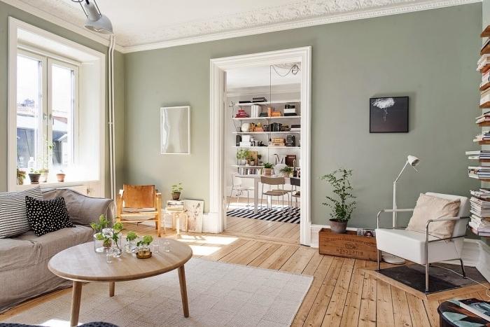 idée couleur de peinture pour salon salle a manger tendance, déco relaxante aux murs gris verdâtre et meubles en bois clair