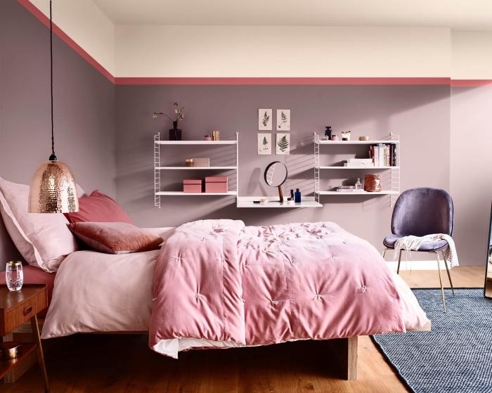 idée couleur chambre à coucher, décoration intérieure avec murs en violet pastel, exemple de peinture tendance 2019