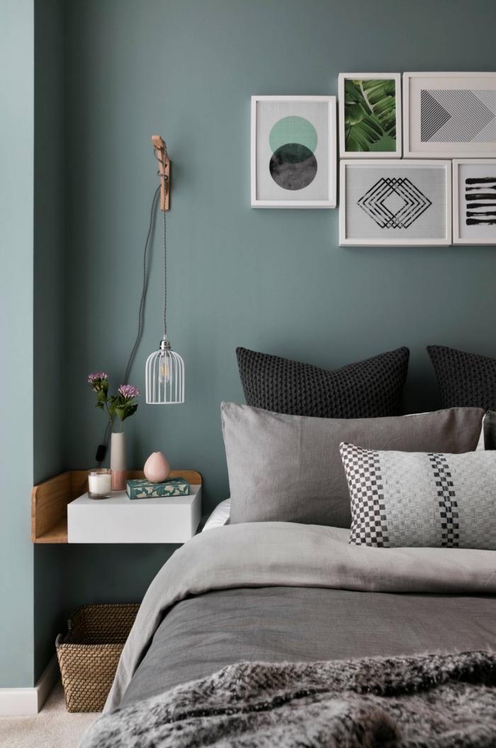 coloris chambre adulte nuance de vert, exemple de peinture vert de gris dans une chambre à coucher moderne