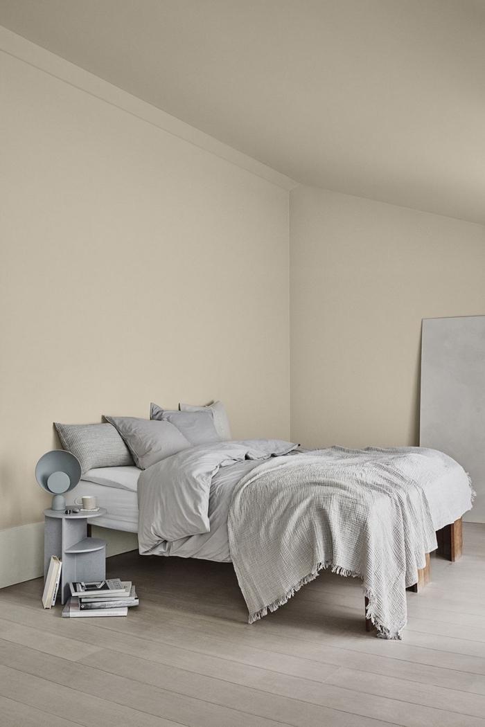 quelle couleur pour une chambre, aménagement sous pente, exemple de chambre à coucher aux murs de peinture nuance blanche