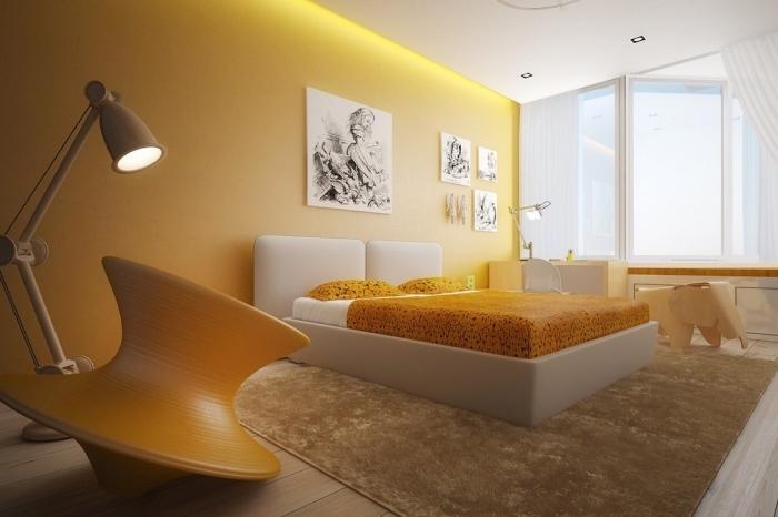 couleur mur chambre moderne, peinture tendance bicolore avec mur en jaune et plafond blanc, aménagement chambre à coucher jaune et blanc