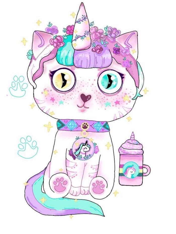 dessin de chat mignon qui se croit pour une licorne, avec frange et queue en violet et bleu aqua et ses grands yeux kawaii
