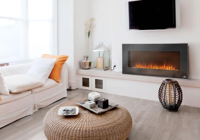 fausse cheminee electrique avec faux feu imitation flammes pour déco salon moderne sur mur blanc dans séjour scandinave fausse flamme cheminée cheminées électriques décoratives decor