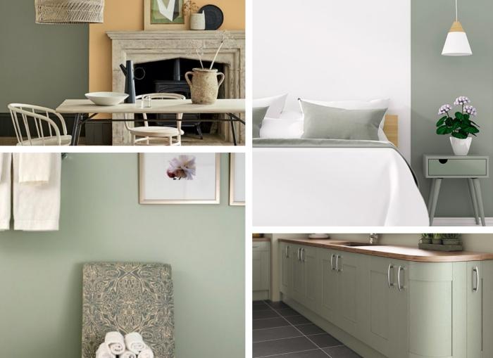 modèle de chambre grise et blanche moderne, déco minimaliste avec peinture vert pastel, aménagement salon aux murs de couleur vert et beige