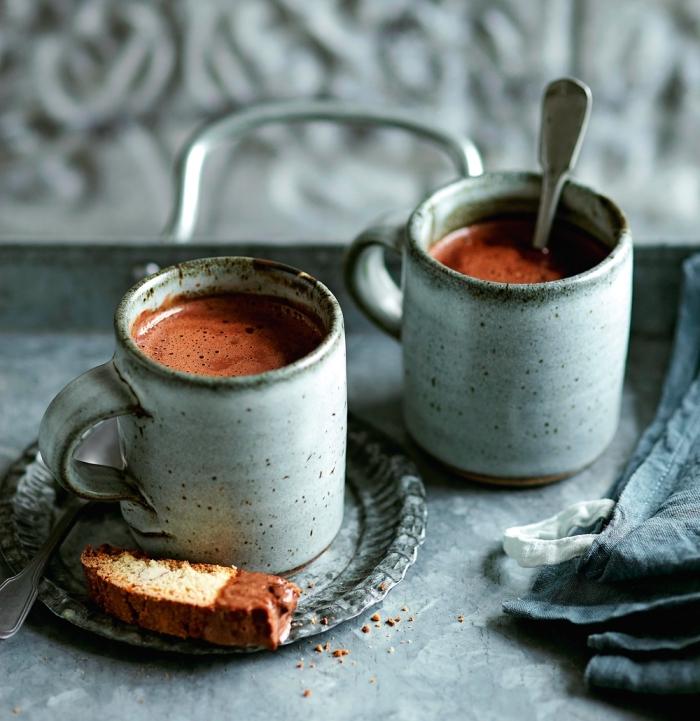 boisson chaude entre amis, préparer un chocolat fondu à la maison, recette chocolat chaud épais au lait entier