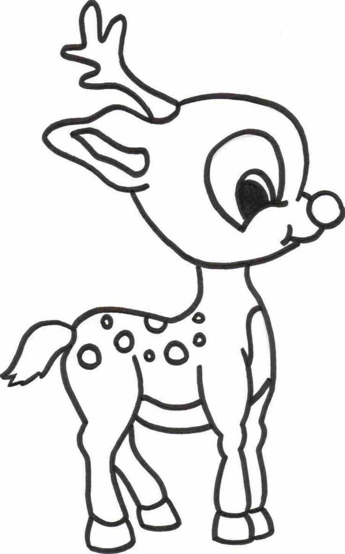 Dessin d'animal, dessin facile a faire, maitrise artistique, apprendre le dessin Noel cerf mignon, image a colorer