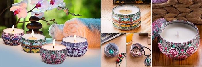 set de bougies zen à design mandala et motifs ethniques, modèle de bougie avec boîte, cadeau de noel pour femme