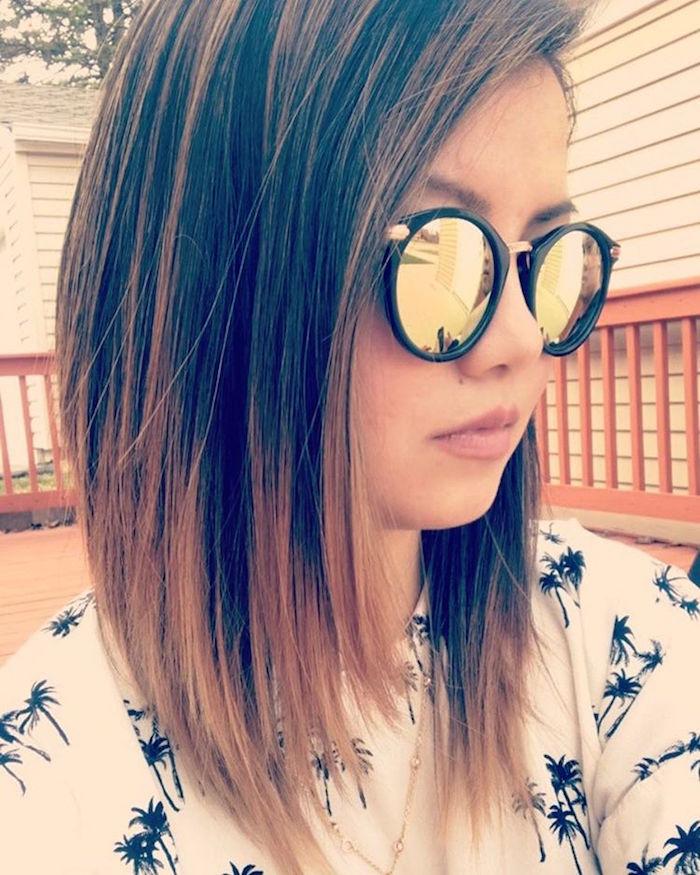 idée coiffure fille cheveux mi longs au carré long avec tie and dye sur les pointes