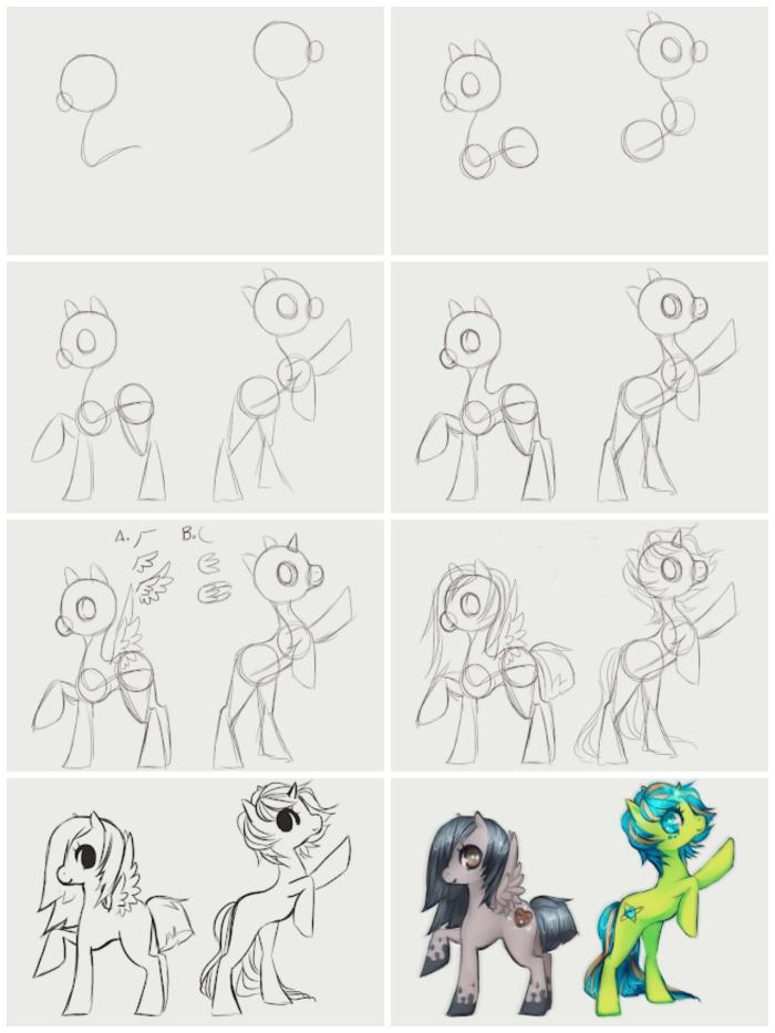 comment dessiner des personnages de my little pony, apprendre à réaliser un dessin kawaii licorne en suivant un pas à pas