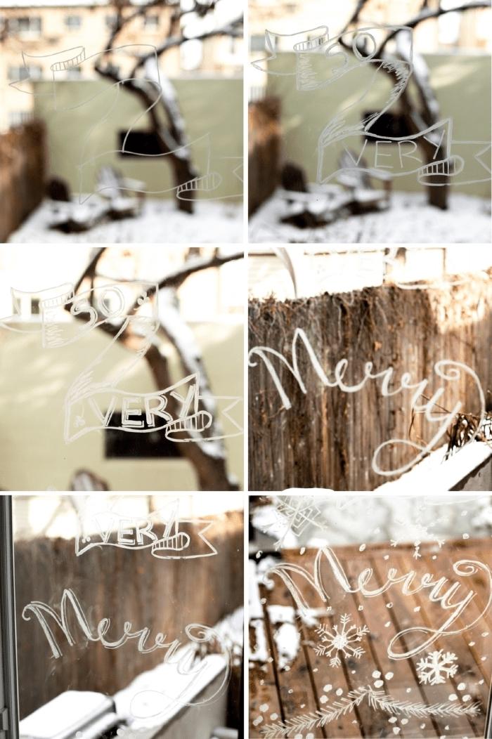 comment dessiner sur une vitre au feutre craie pour créer une deco fenetre noel originale avec bannière festive et un joli lettrage à la craie