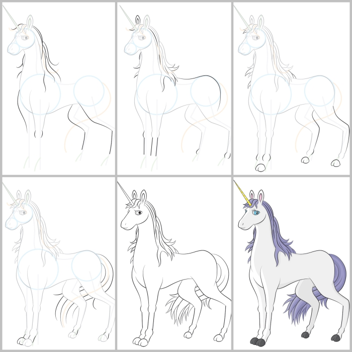 cours de dessin pour apprendre à dessiner une licorne traditionnelle à partir de quelques formes simples