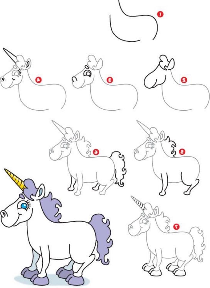 apprendre à dessiner une petite licorne kawaii à partir d'une forme simple, en suivant un tuto facile et rapide