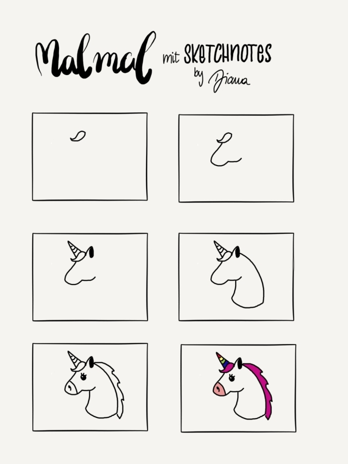 comment dessiner une licorne facilement en partant d'une simple forme de frange, cours de dessin facile