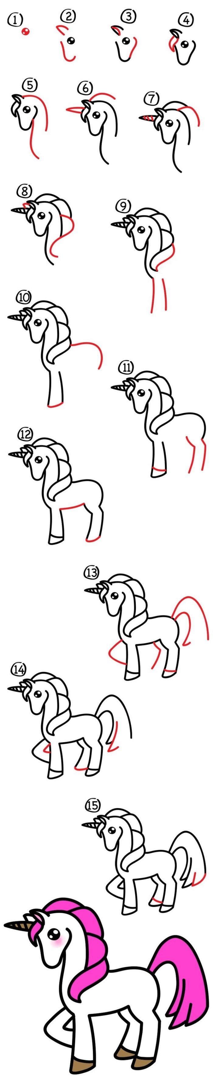 cours de dessin facile pour apprendre à faire une licorne avec pied levé et jolie crinière rose, comment dessiner une licorne facilement