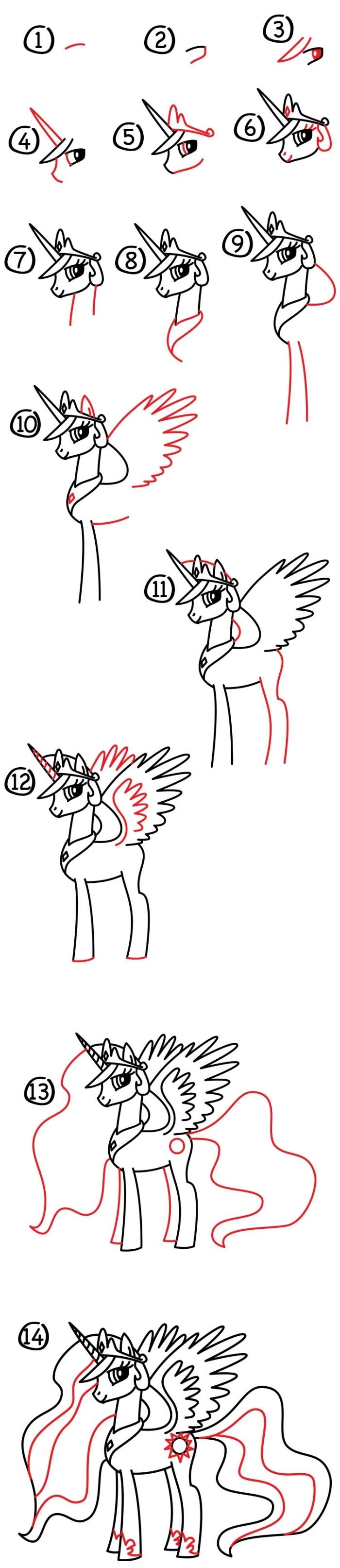 le pas à pas à suivre pour réaliser un dessin facile licorne princesse celestia avec jolie crinière ondulée