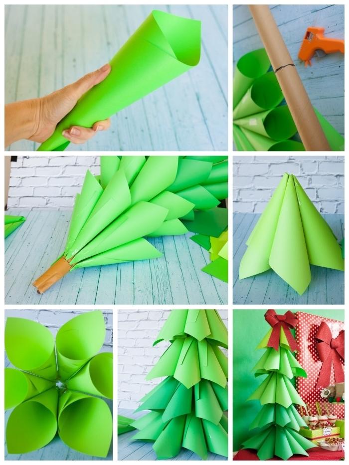sapin de noel en papier de grande taille réalisé à partir d'un tube en carton et des cônes en papier vert