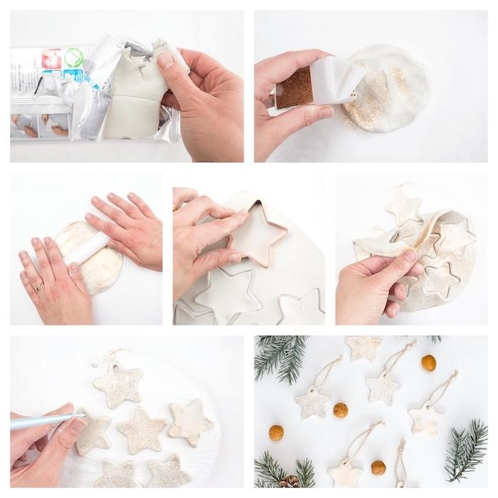 petites decorations sapin de noel fait main, étoiles de noel en pate fimo pailletées, activités manuelles noel