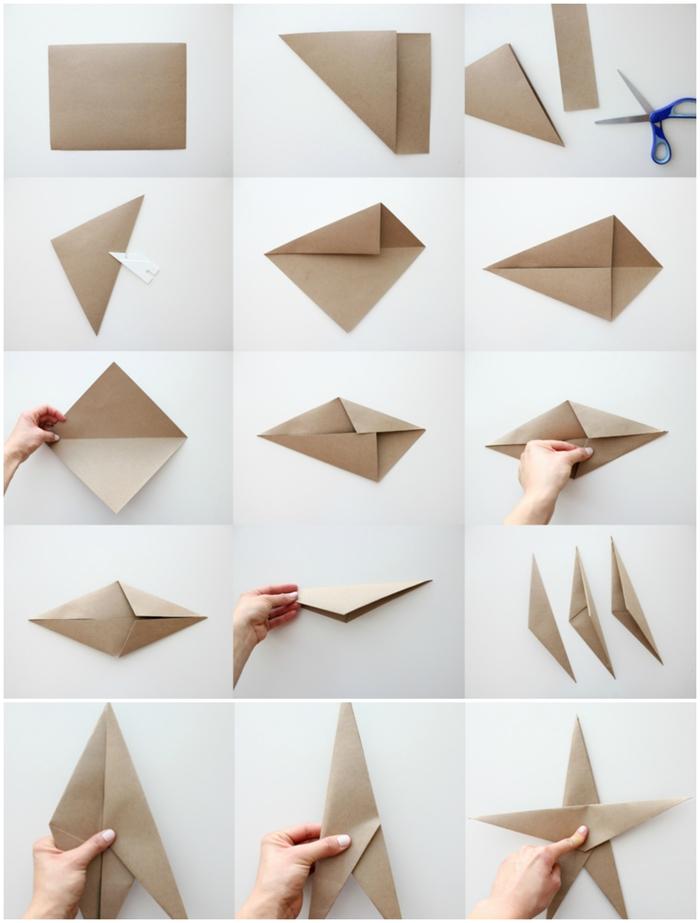 technique de pliage simple et rapide pour réaliser une grande étoile de noël en papier qui décorera une guirlande ou un sapin de noël, le pas à pas du pliage d'une étoile origami noel