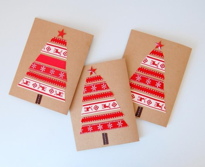 diy carte de voeux pour noel en papier scrapbooking, modele de carte de voeux avec sapin en ruban adhésif blanc et rouge