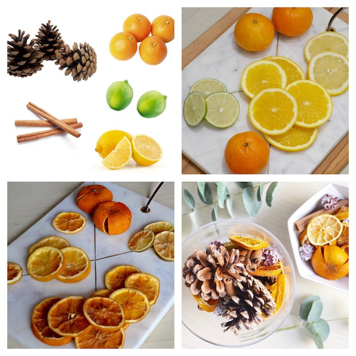 idee pour faire un pot pourri dans un bol en verre avec des tranches de citron et d orange séchées, batons de cannelle et pommes de pin, décoration de noël à fabriquer pour adultes