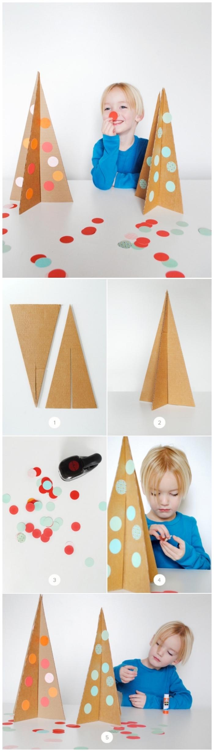 bricolage de noël à faire avec les enfants, comment réaliser un petit sapin de noel en carton à décorer avec des confettis ronds multicolore