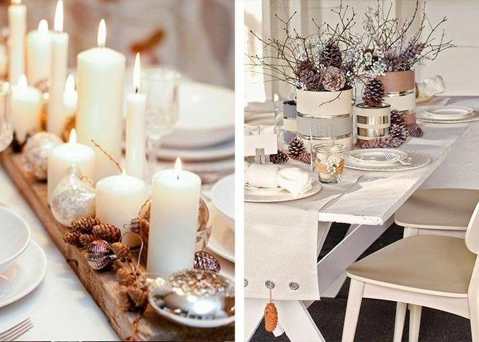comment faire une deco de table noel scandinave bougies blanches pommes de pin planche de bois brut nappe blanche table en bois blanc