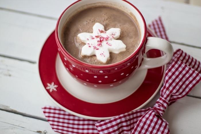 idée boisson de Noel au lait et cacao en poudre, mug café rouge et blanc rempli de boisson chaude au chocolat fondu