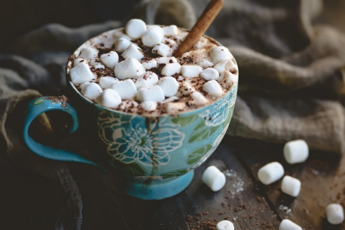 chocolat chaud romantique facile, préparer une boisson chaude à la maison, idée comment servir un chocolat fondu au lait