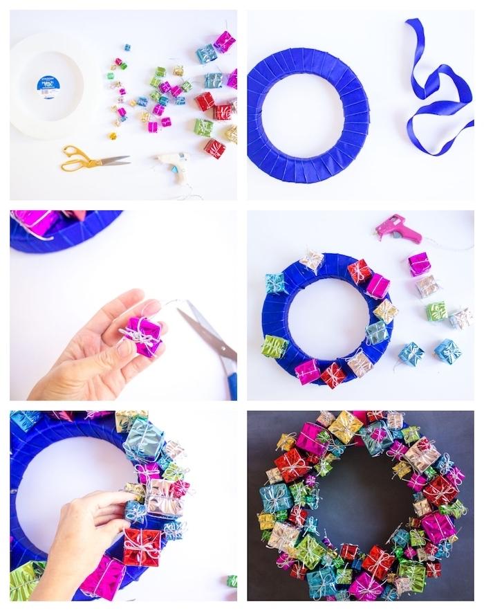 fabriquer couronne de noel en cerceau enveloppé de ruban bleu marine avec décoration de petits paquets cadeau colorés