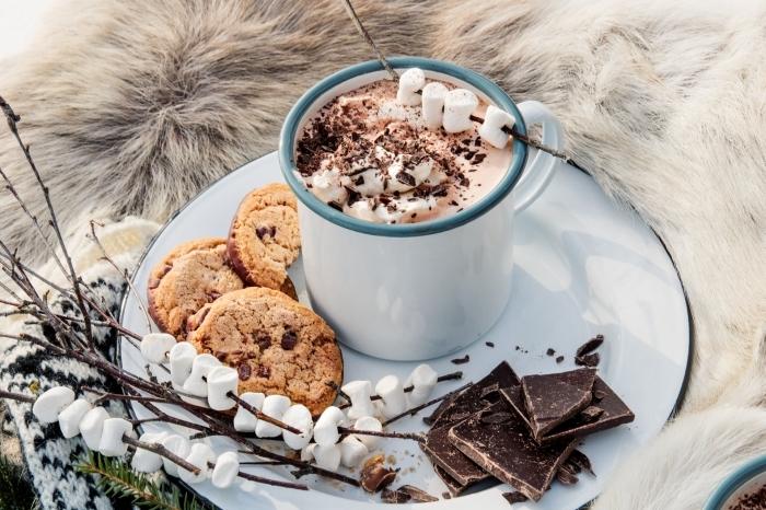 faire un vrai chocolat chaud, recette boisson au lait et chocolat pour noel, comment servir un chocolat fondu