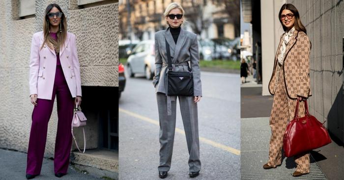 tailleur femme chic et pull femme hiver, pantalon lilas, petit sac lilas, veste lilas pâle, costume originale, grand sac rouge