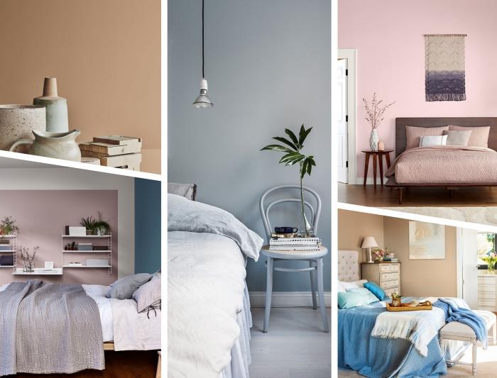 couleur mur chambre moderne, peintures en couleurs pastel ou terreuses, exemple de déco cozy aux murs rose pastel et meubles en bois
