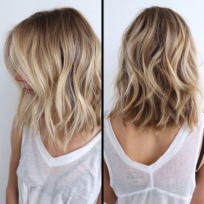 carré long dégradé ondulé aux épaules avec coloration balayage blond platine et top blanc coton