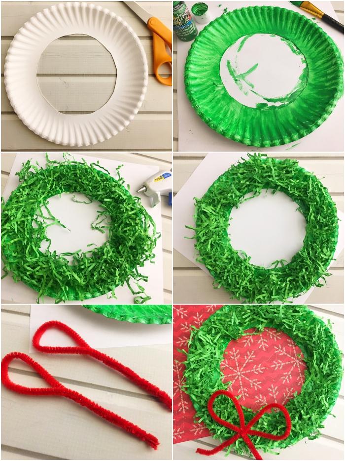 decoration de noël à fabriquer en papier récupéré, couronne de noël à réaliser soi-même à partir d'une assiette en carton découpée recouverte du papier déchiré vert